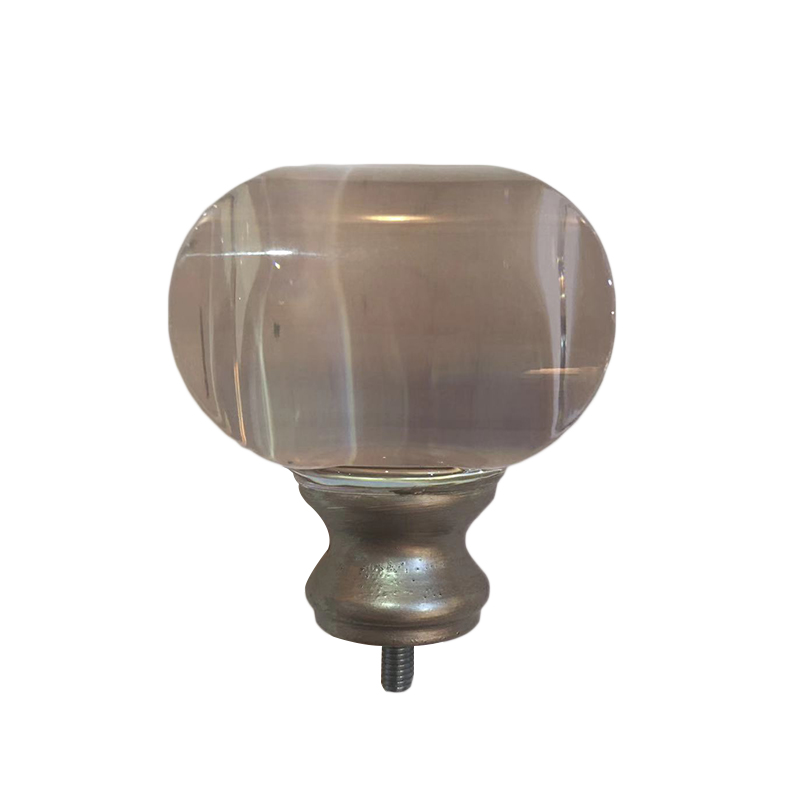 Flat round crystal curtain finial