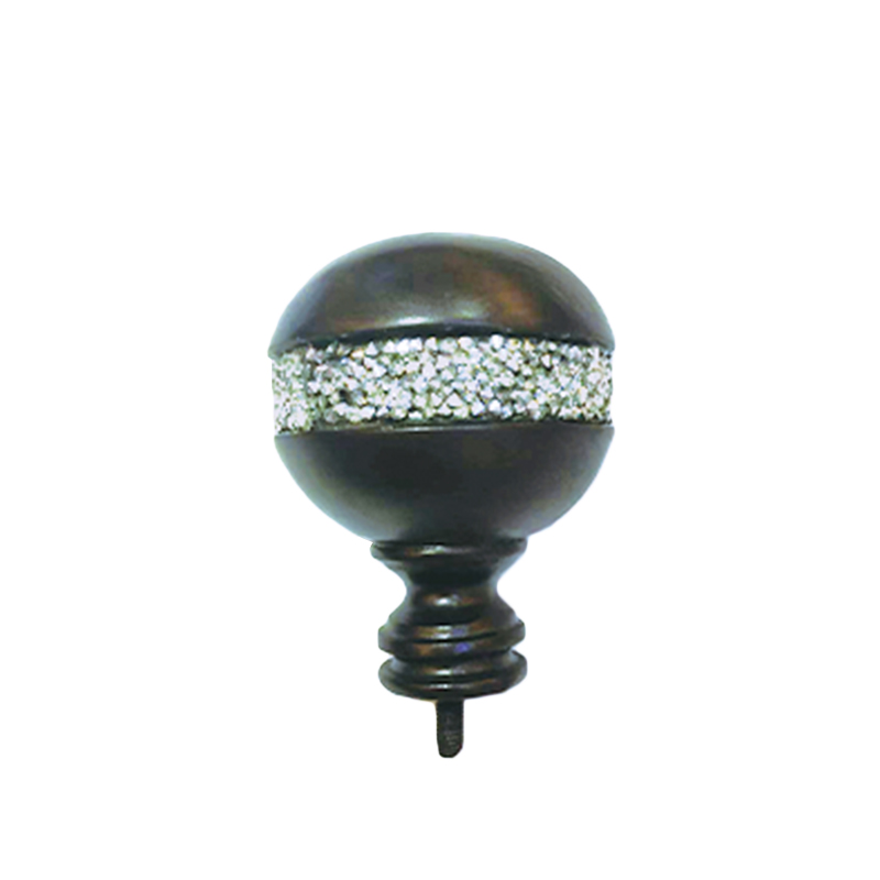 Red-brown drilled curtain finial