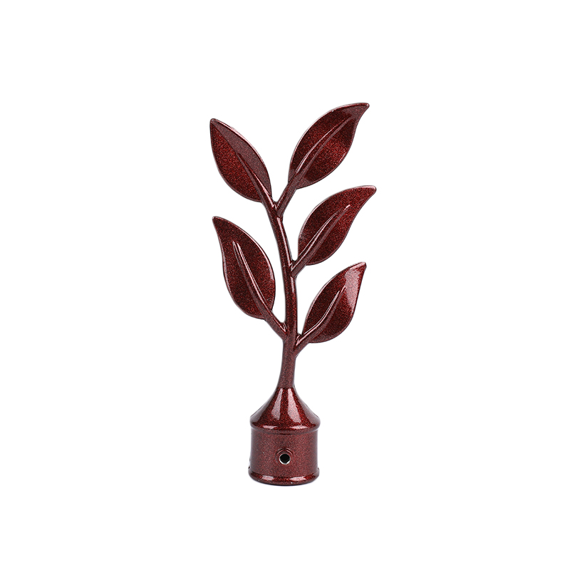 Red Old Willow Leaf-shaped Aluminum Alloy Curtain Finial